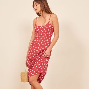 NWT Reformation Mariah Red Floral Dress Sz L